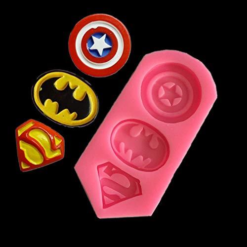 Luyou 3D Captain America Shield,Batman,Superman Shape Silicone Mold