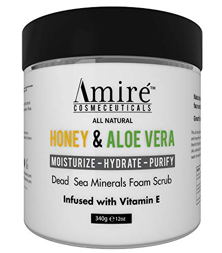 Dead Sea Minerals Foam Exfoliating Body Scrub with Honey and Aloe Vera | Moisturize, Hydrate, and Purify your Skin | Infused with Vitamin E | Great to Reduce Severity of Acne Breakouts