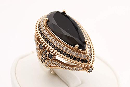 Turkish Handmade Jewelry Long Drop Shape Pear Cut Black Onyx and Round Cut White Topaz 925 Sterling Silver Ring Size All