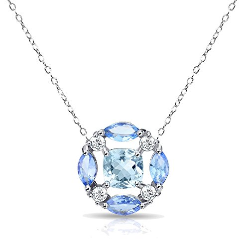 (GemStar USA Sterling Silver Blue Topaz and Tanzanite Necklace with White Topaz Accents)