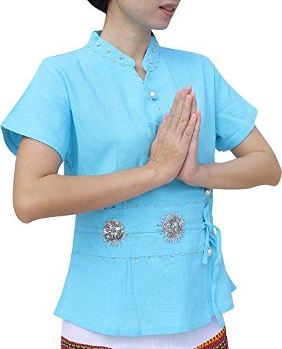 Thai Cotton Ladies Shirts (Raan Pah Muang RaanPahMuang Thai Cotton Ladies Shirt In Simple Kimono Cut, Medium, Pale Blue)