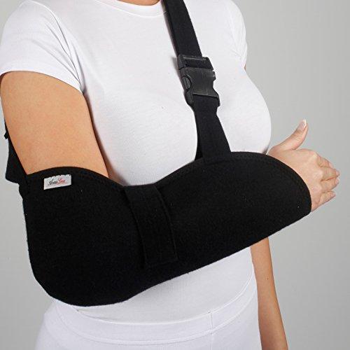 ArmoLine Cabestrillo para brazo de lujo - Cabestrillo inmovilizador de hombro - para adultos, negro, para brazos roto, para inmovilizar brazo (M (38-44 cm))