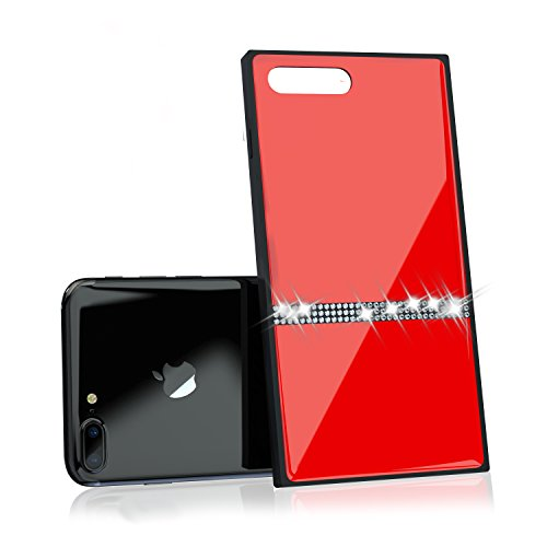 Luxury iPhone 7 Plus/iPhone 8 Plus Case with Rhinestones and 9H Tempered Glass, Drop Protection, Wireless Charging Compatible for Apple iPhone 7 Plus (2016) / iPhone 8 Plus (2017) - Red by Nicexx