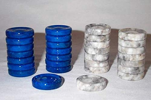 Quality Stone Backgammon Pieces, Replacement Backgammon Chips or Checkers - 1.25 Inch, Blue and Gray