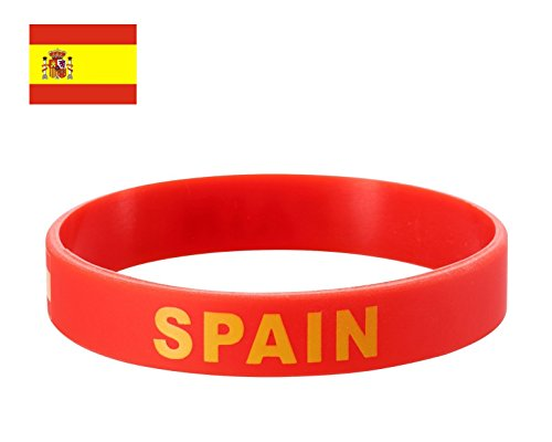 TDoperator Spain Flag Silicone Bracelet FIFA World Cup 2018 For Soccer Fan Unisex Design Soft and Durable Wristband for National Football Supporters Fans Fashion Sport Wrist Strap Souvenir Gift ()
