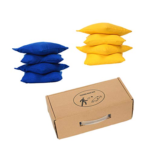 (TIANNBU Cornhole Bean Bags Regulation Size Set of 8 All Weather Resistant Duck Canvas Cloth,Yellow & Blue)