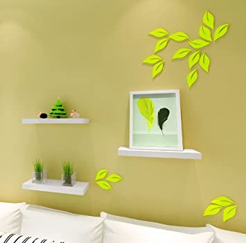 Amazon.com: 3D Leaves Wall Stickers, DIY Removable Wooden Leaf Wall ...