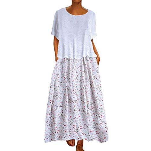 Dressin Women Floral Dress Bohe Long Dress Sleeveless V Neck Dresses Sundress with Pocket White ()