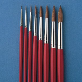 Red Sable Watercolor Round Brushes by S&S Worldwide