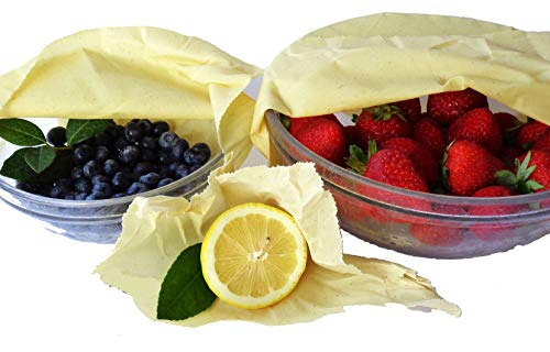 BEESWAX FOOD WRAPS NO DYES - PREMIUM GRADE, Reusable, Sustainable, Organic, Natural Food Storage, Bowl Cover, Cheese and Sandwich Wrap Without Plastic, Keeps Food Fresh - 3 Pack - by OVATION HOME