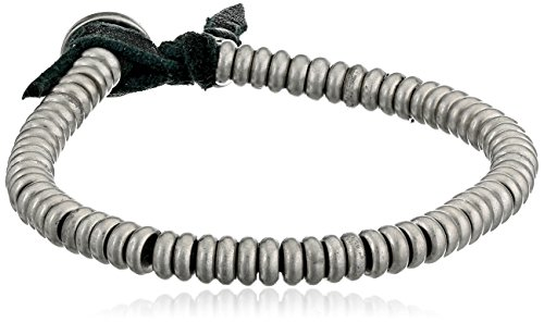 Leather Black Ettika - Ettika Men's Silver Colored Flat Nugget Bead Black Deerskin Leather Bracelet, 3