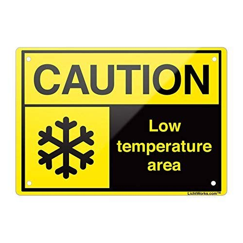 Aluminum Metal Sign Caution Low Temperature 2, 8