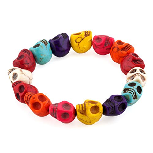 LovelyJewelry Tibetan Prayer Multi Color Skull Beads Handmade Bracelets for Girls for (Mixed Color) ()