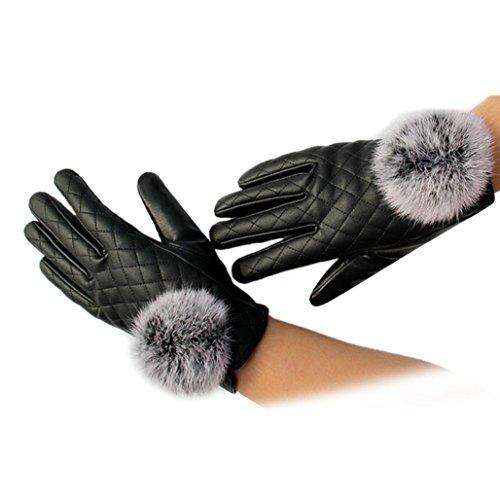 Goenn 手袋 女性用 防寒 グローブ レディース 冬用 タッチパネル PUレザー ファー付き 保温 暖かい 防水 防寒 自転車 バイク アウトドア