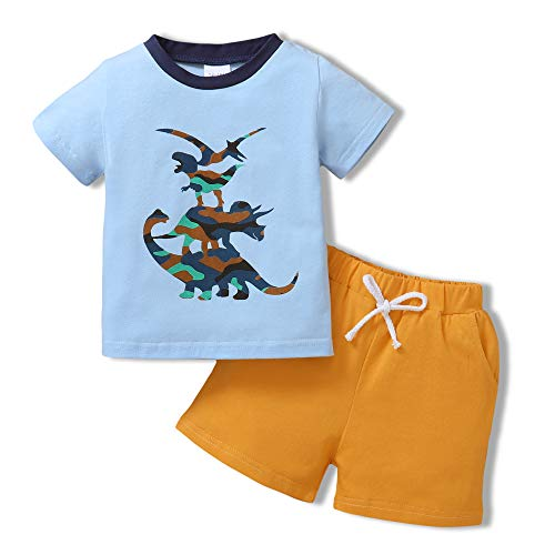 Toddler Baby Boy Clothes Outfits Short Summer Sleeve Printed Shirt Shorts Set 2PC Little Kid Boy Clothing