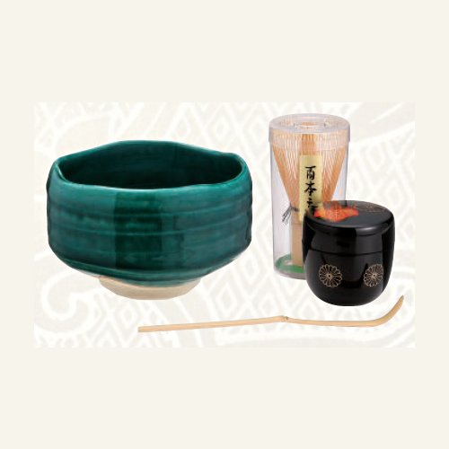 TOKYO MATCHA SELECTION - [VALUE] Matcha Bowl Set C - Bowl, Caddy, Chasen whisk, Chashaku tea scoop for Japanese Tea Ceremony [Standard ship by Int'l e-packet: with Tracking & Insurance] Japanese artist