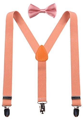 PZLE boys bow tie and suspenders peach bowtie 26 Inches (3yrs - 9yrs) Peach - Peach Toddler Bow Tie