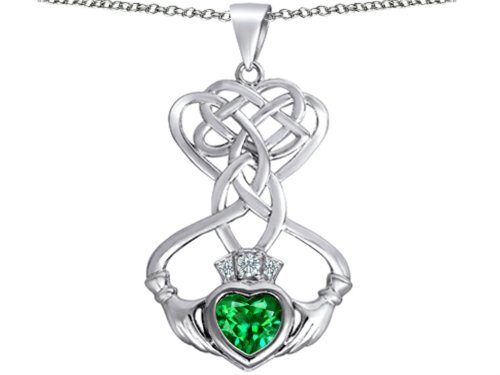 Star K Celtic Knot Claddagh Heart Pendant Necklace with Heart Shape Simulated Emerald Sterling Silver ()