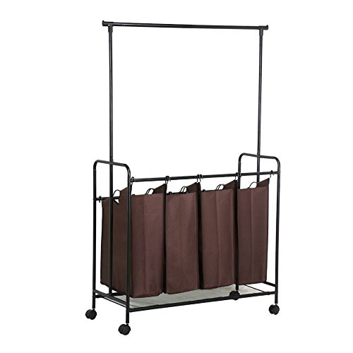 Rolling Laundry Cart Sorter Hamper 4 Bag Washing Clothes Bin Storage Basket Rack from Unknown