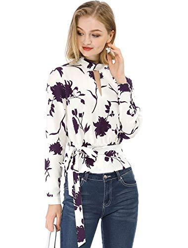 Allegra K Women's Choker V Neck Long Sleeves Tie Smocked Waist Cropped Floral Blouse Tops White Burgundy L (US 14) -