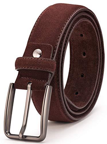 Mens Suede Brown Leather (Suede Leather Belt for Men - BeltRyte Men's Casual Jean Belt - Coffee 36 Inch)