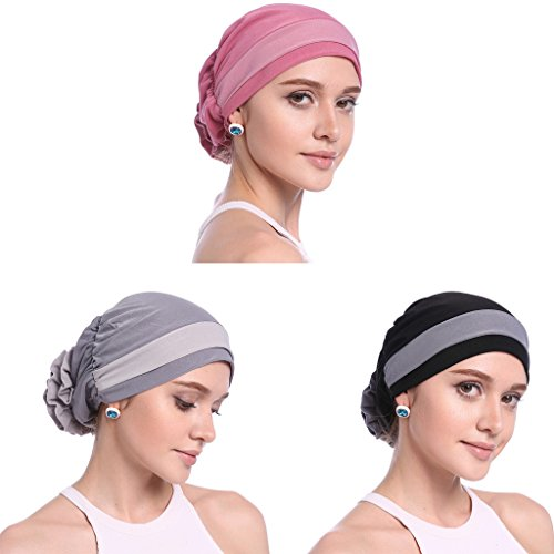 YI HENG MEI Women's Elegant Strench Flower Block Color Muslim Turban Chemo Cancer Cap,Pack of 3(Gray+Pink+Black) Block Knitted Hat