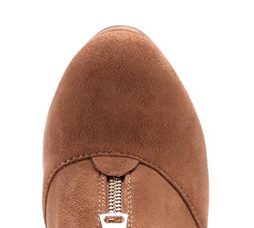 Schuhtempel24 Damen Schuhe Ankle Boots Stiefel Stiefeletten Trichterabsatz 11 cm High Heels Camel