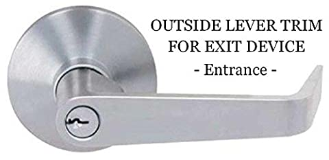 Prowell LHL650 Exit Device Outside Lever Trim, Entrance Function, Satin Chrome finish,Cylinder - Double Cylinder Rim Device