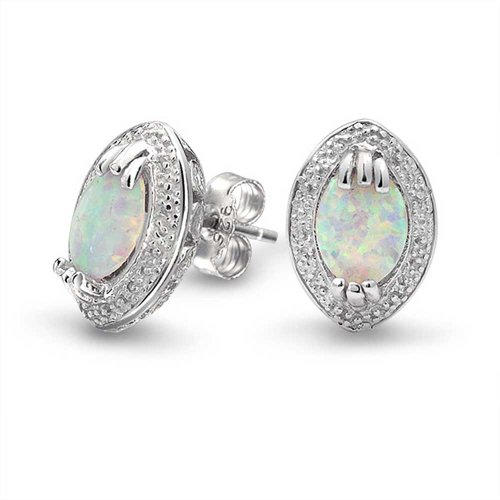 Bling Jewelry Victorian Style Synthetic White Opal Stud Earrings 925 Silver