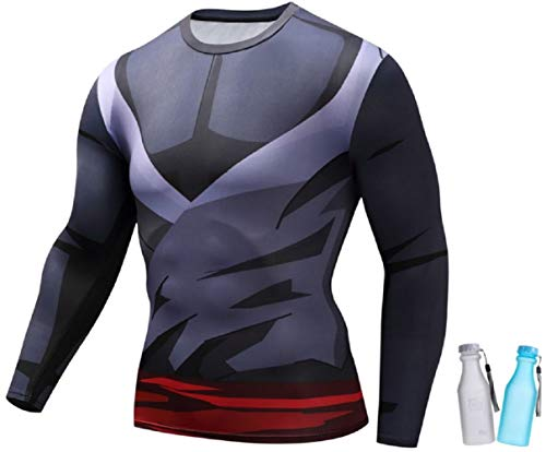 Geekoolit Compression Shirt for Men Anime Dragonball Z Fitness T-Shirt Top Naruto Goku with BPA Free Water Bottles Red