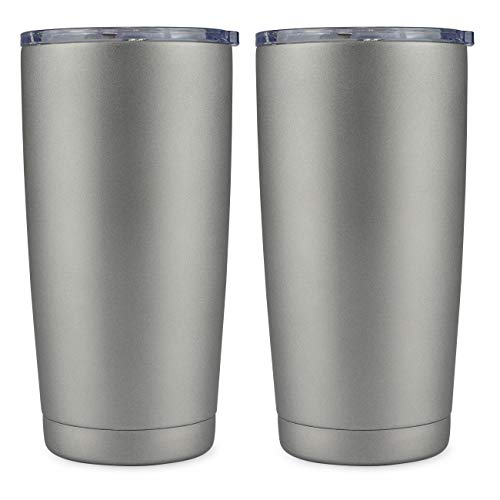 - 20oz Tumbler Double Wall Vacuum Insulated Coffee Mug Stainless Steel Coffee Cup with Lid, Travel Mug Works Great for Ice Drink, Hot Beverage (2 pack, Cold gray)
