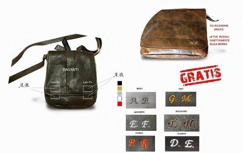 Borsa messenger in pelle effetto vintage -Vero Artigianato italiano - 38cm L, 26cm H,6 cm MOD : JERICO CON MANICO Brown