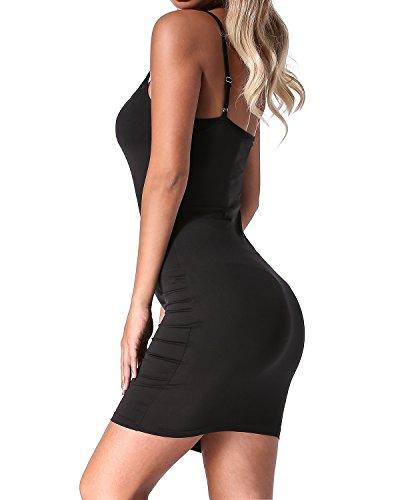 Mangas Auxo Tirantes Backless Ajustado Sin Fiesta 01 Vestido Verano negro Falda Mujer Casual Delgado XgrtYX