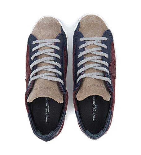 Sneakers Philippe Model Classic en gamuza rojo burdeos y beis Rojo