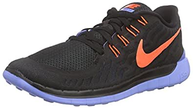 Nike Women's Free 5.0 Black/Hyper Orange/Chalk Blue Running Shoe 5.5 Women US