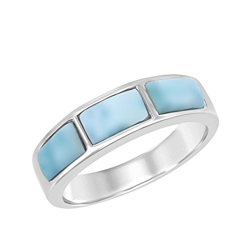 Sterling Silver Larimar Band
