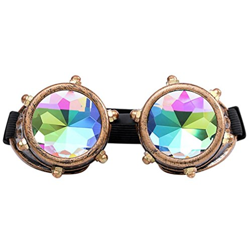 Lisin Kaleidoscope Colorful Glasses Rave Festival Party EDM Sunglasses Diffracted Lens - Eyewear Rimless Mount