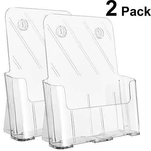 (Ktrio Acrylic Brochure Holder 8.5 x 11 inches Plastic Acrylic Literature Holders Clear Flyer Holder Rack Card Holder, Magazine, Pamphlet, Booklet Display Stand Trifold Holder Desk or Wall Mount 2 Pack)