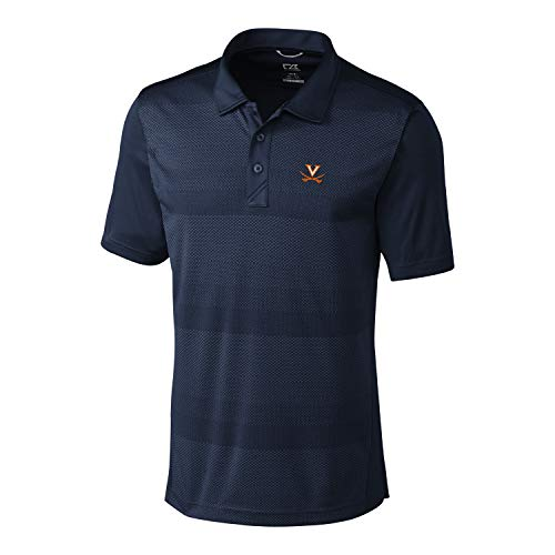 Cutter & Buck NCAA Virginia Cavaliers Short Sleeve Crescent Print Polo, Medium, Liberty Navy
