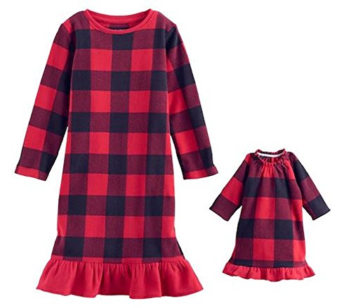 Jammies For Your Family Little Girls' Holiday Fleece Nightgown With Matching 18 Inch Doll Pajamas (4T Red Black Plaid)