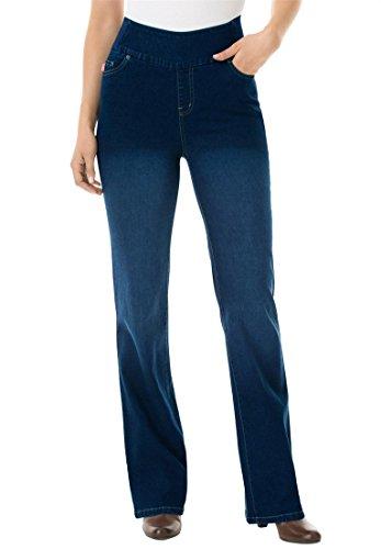Women's Plus Size Petite Bootcut Smooth Waist Jean Indigo Sanded,20 Wp