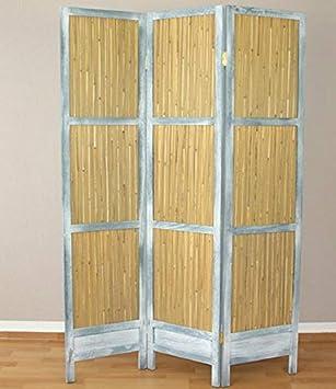 Biombo de 3 paneles de juncos y madera gris, mampara de separación PAR06053: Amazon.es: Hogar