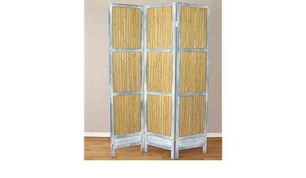 Biombo de 3 paneles de juncos y madera gris, mampara de separación ...