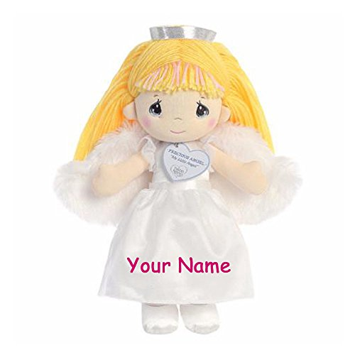 Personalized Precious Moments Precious Angel Doll with Blonde Hair and Fuzzy Wings Plush Stuffed Animal Toy - 12 Inches ()