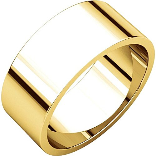Men's and Women's 14k Yellow Gold, 8mm Wide, Flat, Plain Wedding Band - Size (14k Gold Flat Wedding Band)