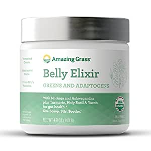 Amazing Grass Belly Elixir, Greens and Adaptogens Organic Powder, 20 Serving Tub, 4.9 oz