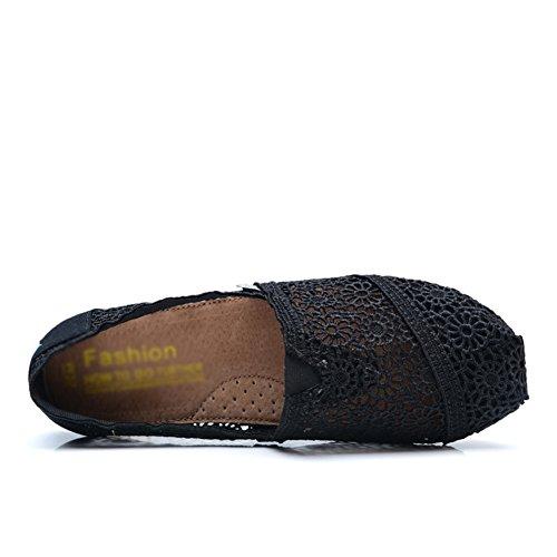 Tiosebon Kvinna Sko Halka På Sneaker Canvas Platt 5918 Svart