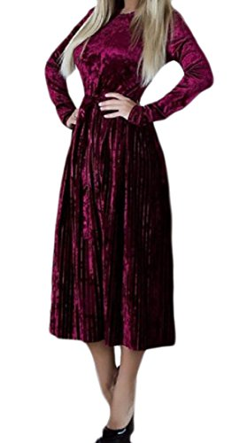 Gold Mid Wine Long Comfy Strappy Velvet Length Pleated Dress Sleeved Red Women qfw0t01xg