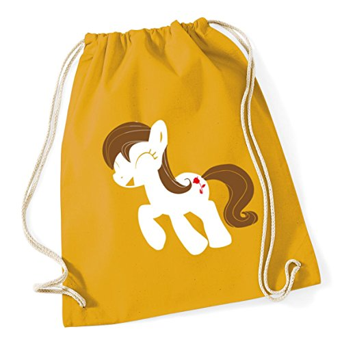 Gym litres School HippoWarehouse Bag 12 Drawstring Rose 46cm Mustard 37cm x Kid pony Sack Cotton IxgOx1