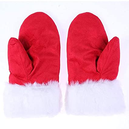 3bda3ebccb3e Amazon.com: Lannmart Winter Christmas Mittens Gloves Red Double ...